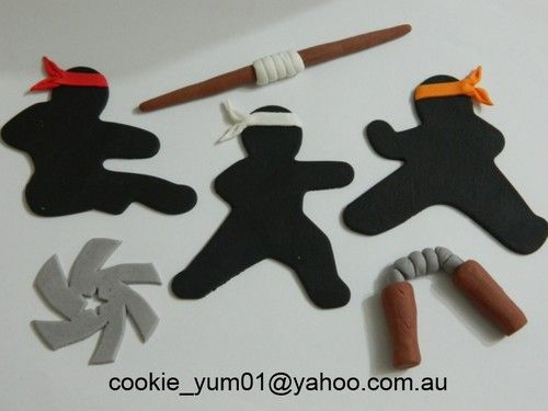 6 Piece Edible Ninja Cake Decoration Topper Martial Arts Karate Cupcake Icing | eBay