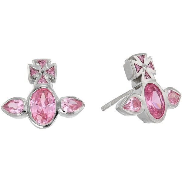 Vivienne Westwood Carmella Earrings (Pink Cubic Zirconia) Earring ($85) ❤ liked on Polyvore featuring jewelry, earrings, pink, cz jewellery, cubic zirconia jewelry, pink cubic zirconia earrings, vivienne westwood jewelry and pink cubic zirconia jewelry