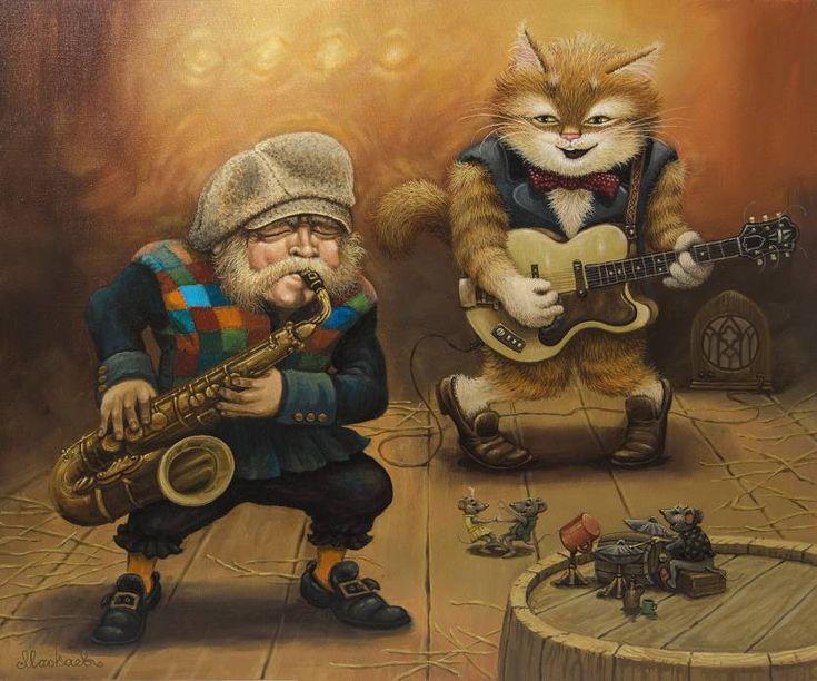 Кот и гитара арты