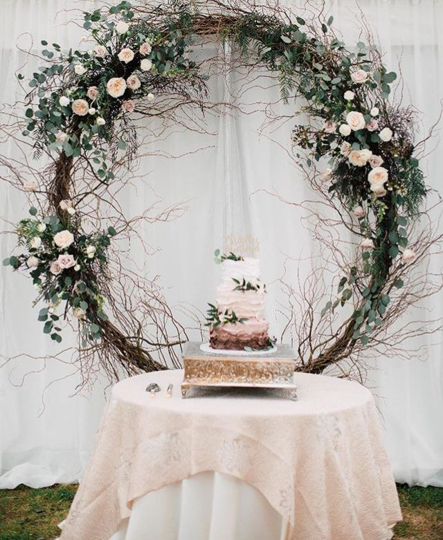 Wedding Cake Backdrop: Circle Backdrop Creates A Stunning Focal Point For The