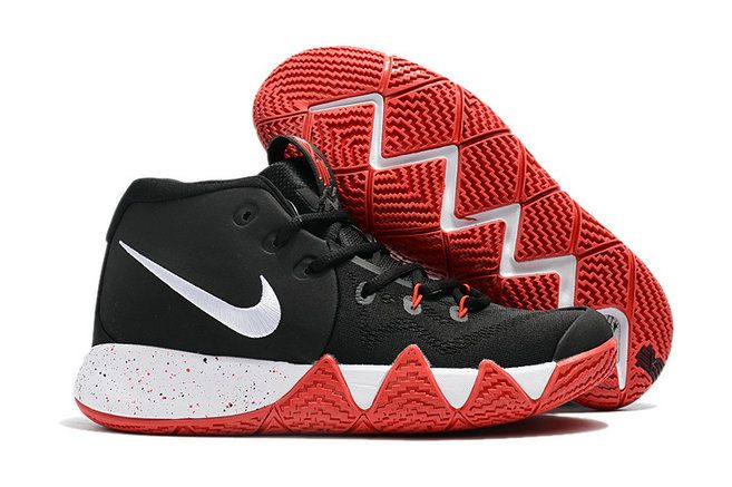 b7cd4072e4a9 Mens Original Nike Kyrie 4 Core Black White Blood Red Basketball Shoes