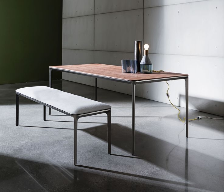 Slim table & bench furnish #home and #contract spaces with functional and contemporary #design at the same time #Sovetitalia #furniture #madeinitaly #inspiration #archilovers #designlovers #decoration #home #contract #arredo #arredamento