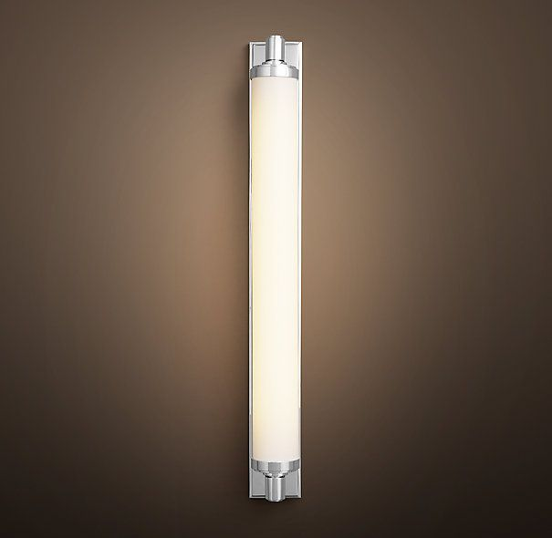 Chandler sconce polished chrome restoration hardware over the 2nd and 3rd bathroom mirrors Polished chrome bathroom mirrors