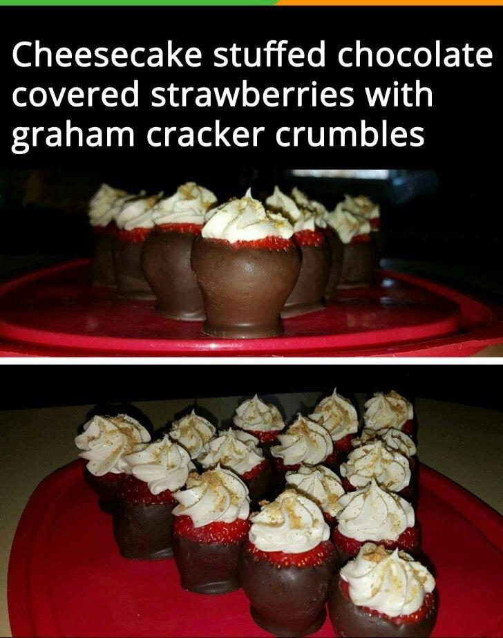 Cheesecake Stuffed Chocolate Covered Strawberries With Graham Cracker Crumbs