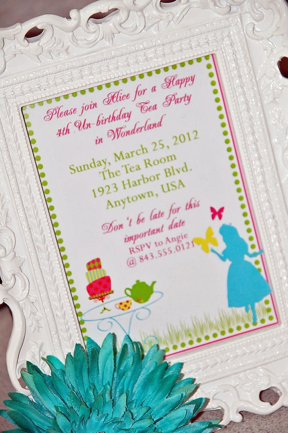 mad hatter teparty invitations pinterest%0A  x  Customized Printable Invitation  Wonderland Tea Party Collection