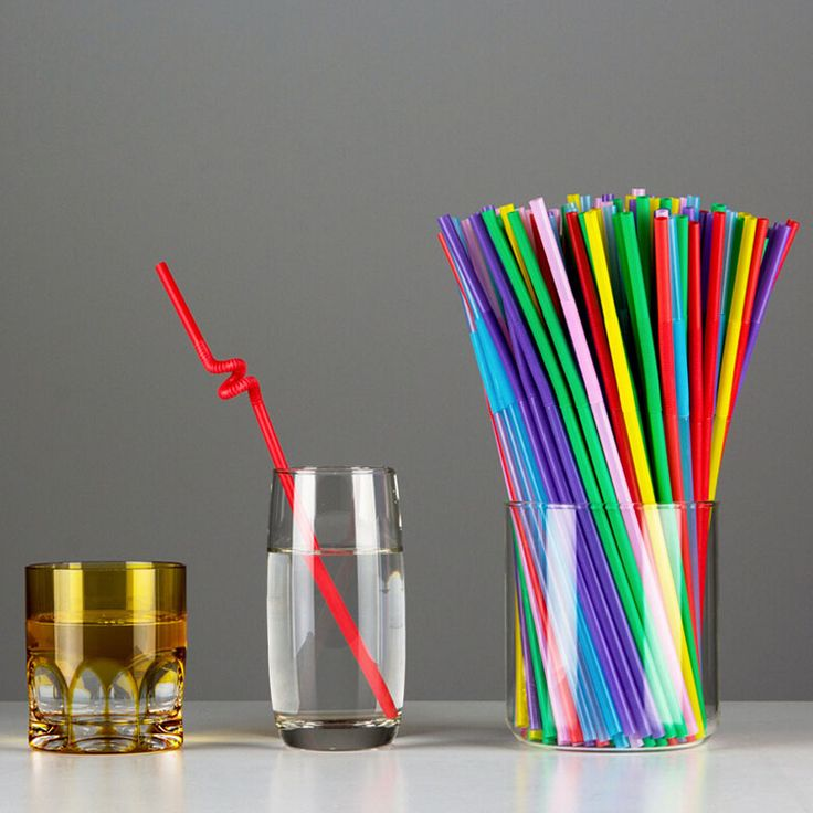 Free Shipping Plastic Drinking Straw 100pcs/Lot Multicolor Wedding Party Straws Event Party Supplies Happy Birthday Decoration