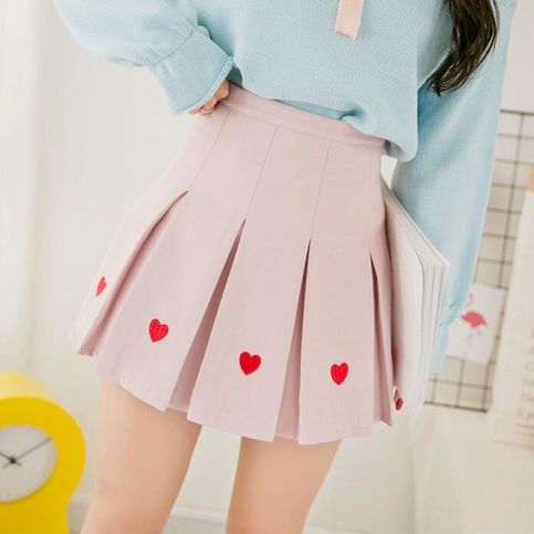 b20f976b8 Heart Embroidery High Waist Pleated Skirt | gifts | Pleated skirt ...