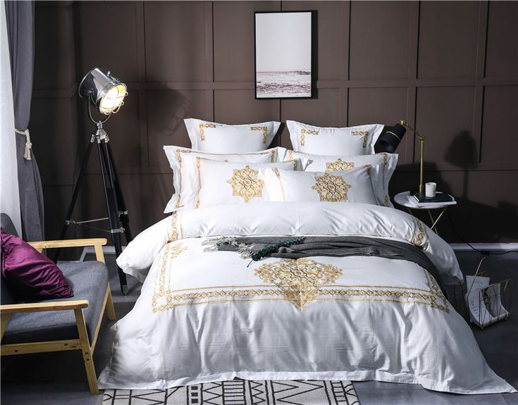 Find More Bedding Sets Information about  4/6 Pcs white green Luxury Egyptian cotton Bedding Set Queen King Size Bed Set gold Embroidery Duvet Cover Bed Sheet Bed Linen,High Quality bed linen,China cotton bedding set Suppliers, Cheap bed set from yangyang decoration Store on Aliexpress.com