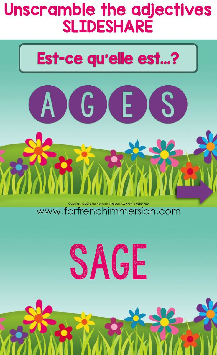 Unscramble French adjectives to describe mothers (or other female members of the family) - Slideshare - great activity for Mother's Day - la fête des mères - en français