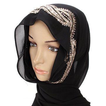 Women Muslim Sequin Lace Shawls Islamic Hijab Long Scarf Headwear at Banggood