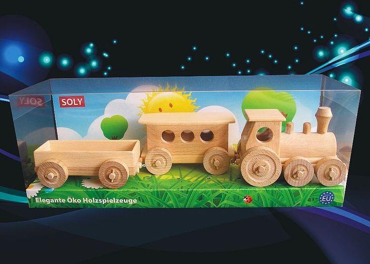 Dřevěný osobní pohyblivý vláček na hraní pro děti. Opojitelné vagony a krásná dárková panorama krabička. Dodání do 24 h.