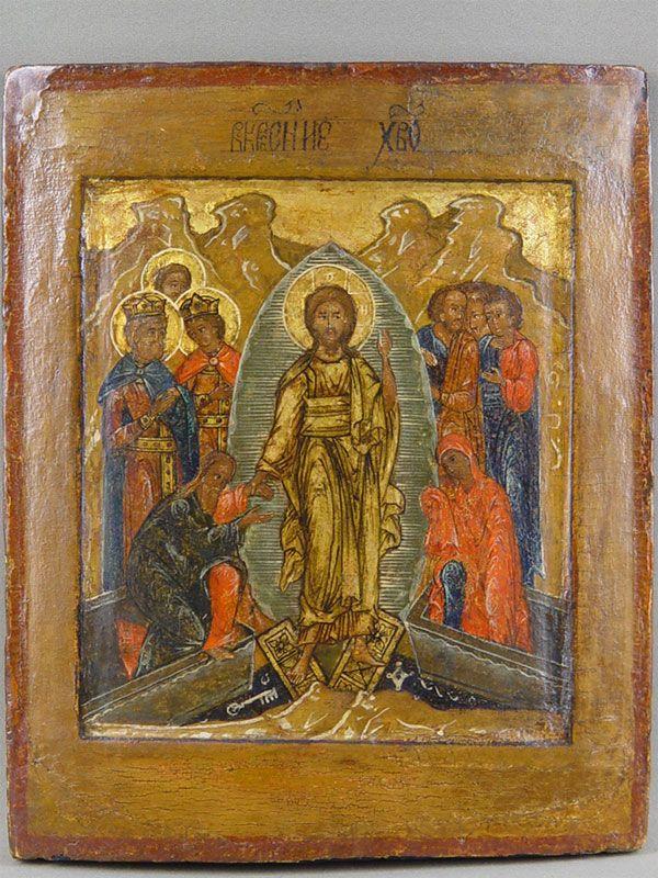 Лот 29543. Икона «Воскресение Христово. Сошествие воад», дерево, левкас, темпера. Поволжье, конецXVIвека, размер:28,2×23,1см.