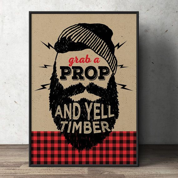 Lumberjack table sign, photo prop sign, Woodland party, flannel, woodland shower, woodland birthday, beard prop, Timber By Lyon's Prints