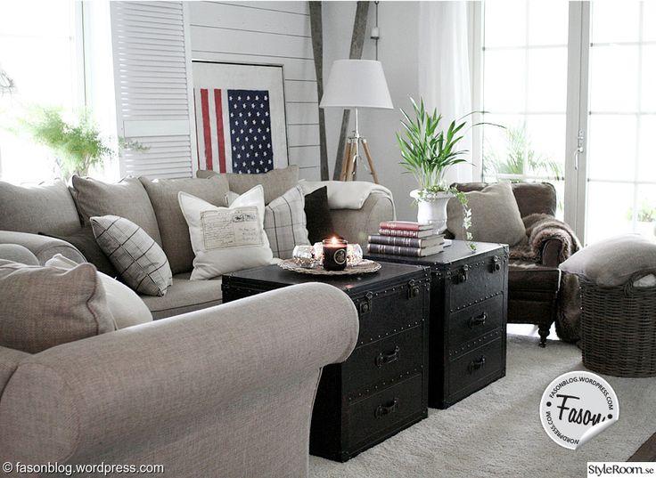 soffbord,koffert,höst,rustikt,new england,amerikanska flaggan,stars and stripes,vardagsrum