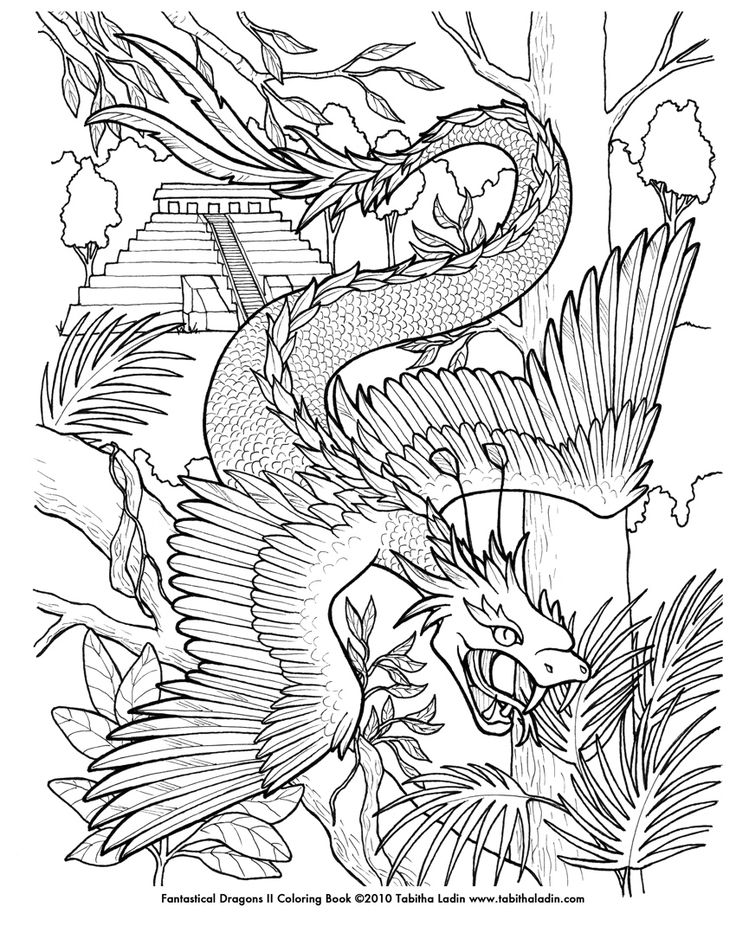 coloring pages for boys  Quetzalcoatl Coloring Page by TabLynn.deviantart.com