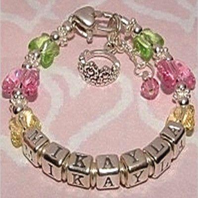 Butterfly Kisses Baby Name Bracelet