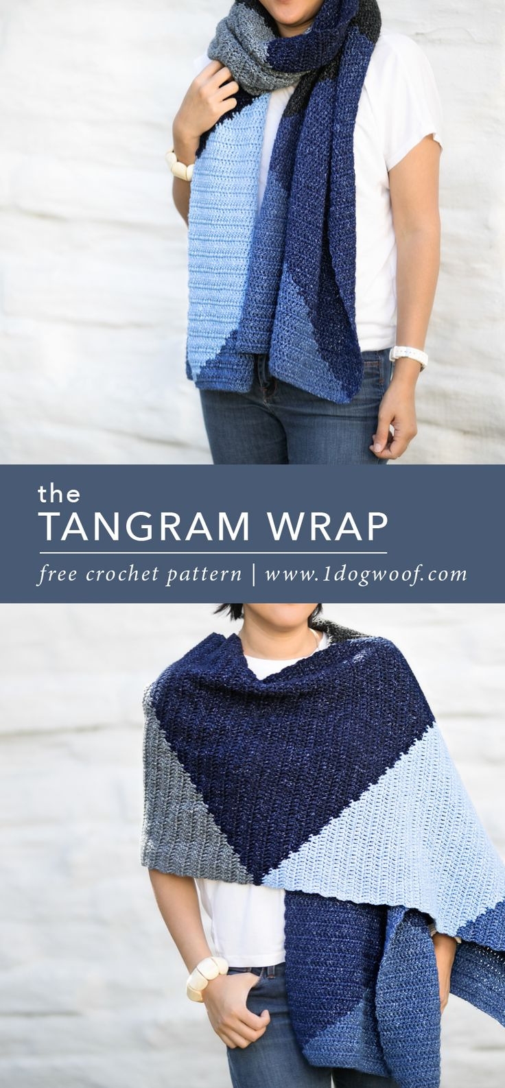 A simple and modern crochet scarf wrap inspired by the fun, geometric tangrams. This free pattern is a great project for beginners or anyone who wants a soft, easy scarf. | www.1dogwoof.com