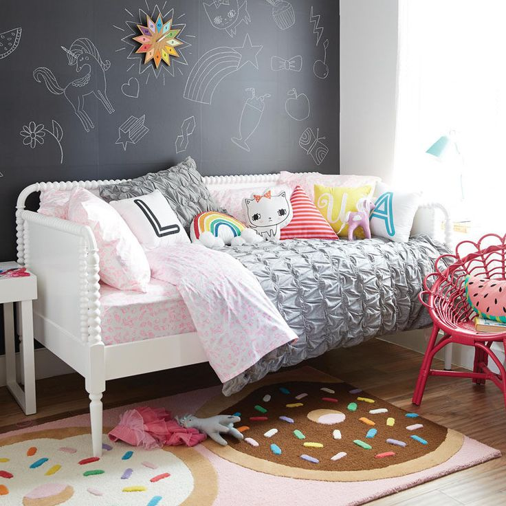 In a cute girl or tween bedroom, create a chalkboard wall as a space for wall art or to create an accent wall.