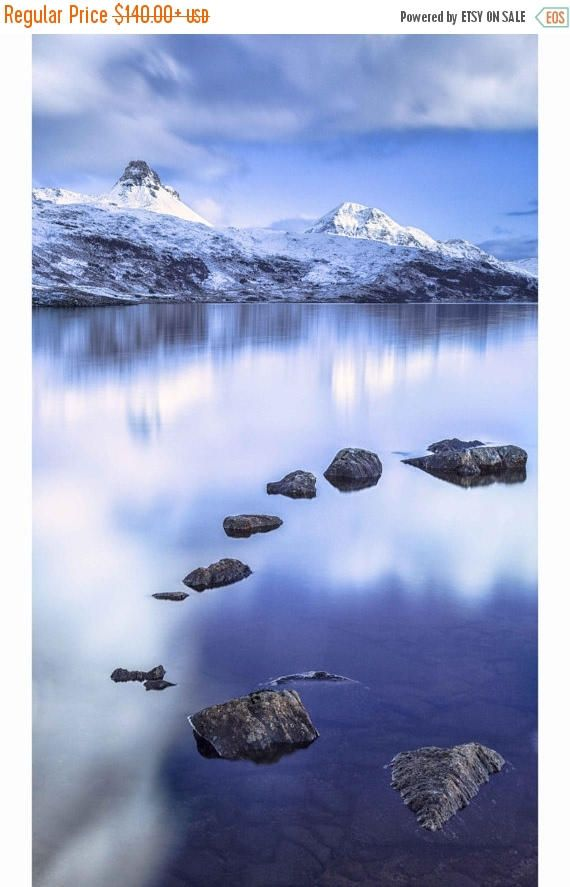 Lone Tree Art Print - Oversized Print - Loft Art - Scottish Photography - Minimalist Home Decor - Very Large Wall Decor - Nature Photography    Title: REFLECTION, Loch Lomond    The little tree at Loch Lomond in Scotland often sits surrounded by water. On an amazingly clear pink morning the reflection is perfect and you can see the stones below the water. A beautiful print for home or office.    This is an original, fine art giclee print from a limited edition print run, only a very few will…