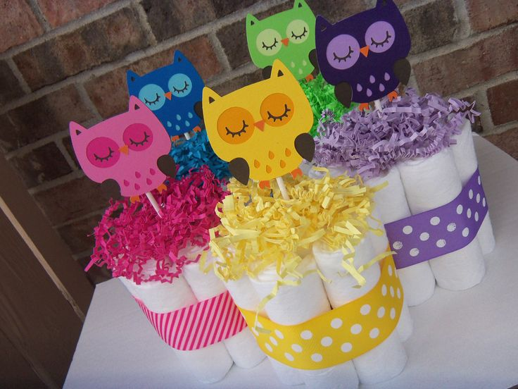 Bright Owl Diaper Cakes-Set of 5 Small Cakes-Your Choice of Color or Mix. $35.00, via Etsy.