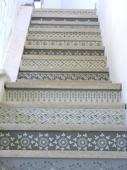 Henna inspired grey and white neutral stencil stairs. . . maybe a way to someday infuse some pretty into the basement?