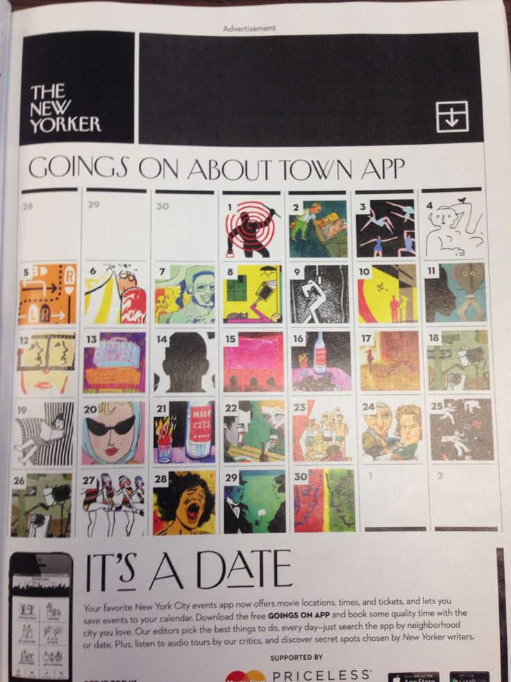 Fun calendar idea for chronological yearbook. #advertisement #newyorker #yearbook