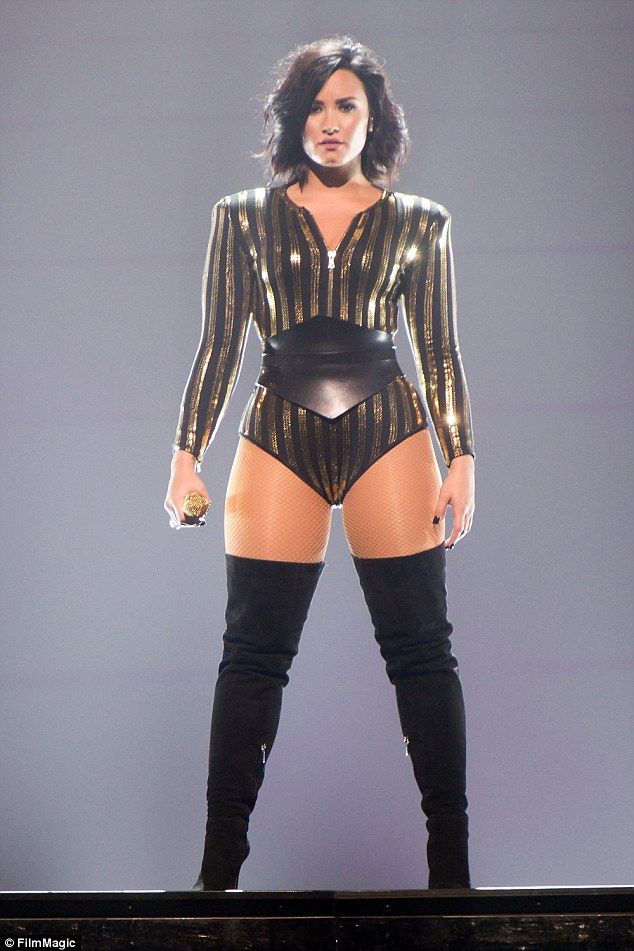 Confident: She's been hitting the stage  night after night. So it came as no surprise to see Demi Lovato looked in her element  at Allstate Arena in Rosemont, Illinois on Tuesday