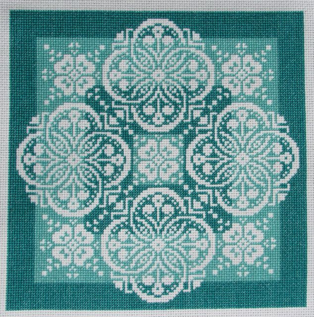 Gracewood Stitches: Productive April - Lace Traces~Shades of Jade Model Completed
