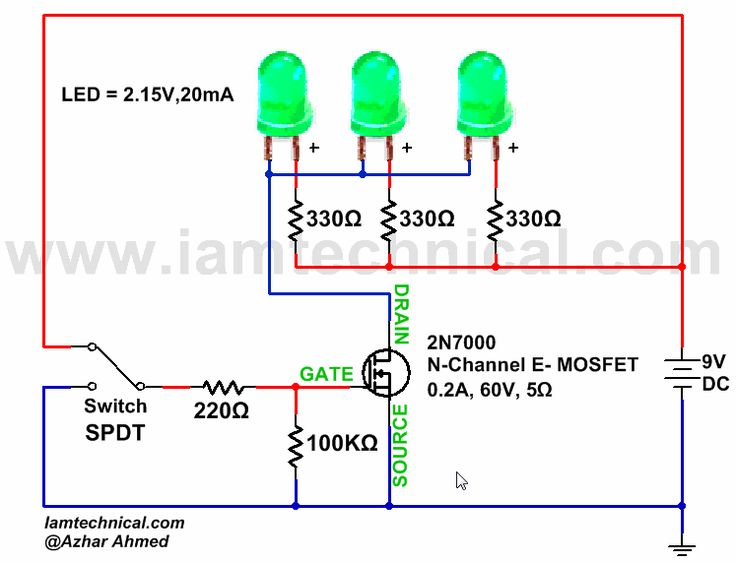 N-Channel E-Type MOSFET Switching LED's | IamTechnical.com