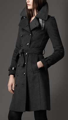 Long Wool Cashmere Trench Coat Burberry
