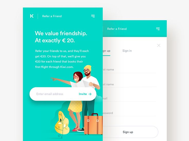I've pleasure to illustrate and design Refer a Friend mobile version for Kiwi.com