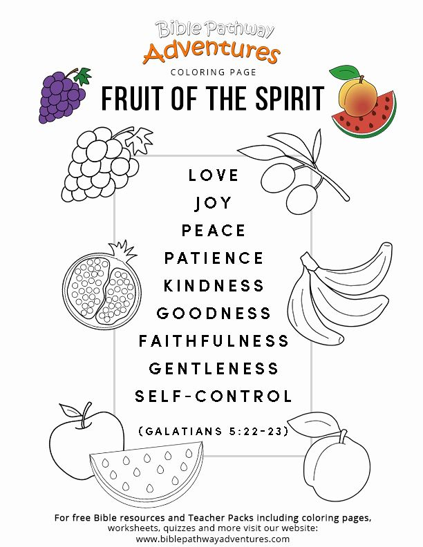 28 Fruit Of the Spirit Coloring Page in 2020 (With images
