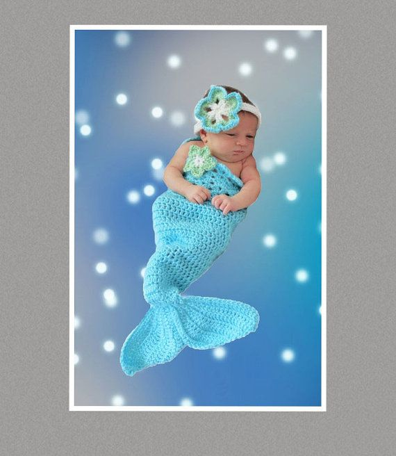 #Crochet #Mermaid Tail Pattern with Bikini Bandeau Top and Headband in 8…