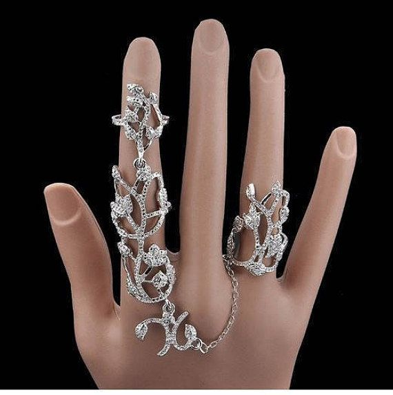 Crystal Leaf Chain Full Finger nail Ring Double finger nail