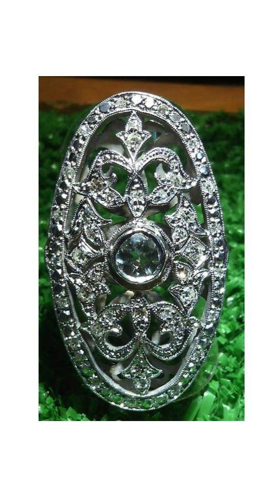 anillo art-deco plata paladio : 9,7gm 41 diamantes 8f :0,52cts 1 agua marina :0,50cts $700.000