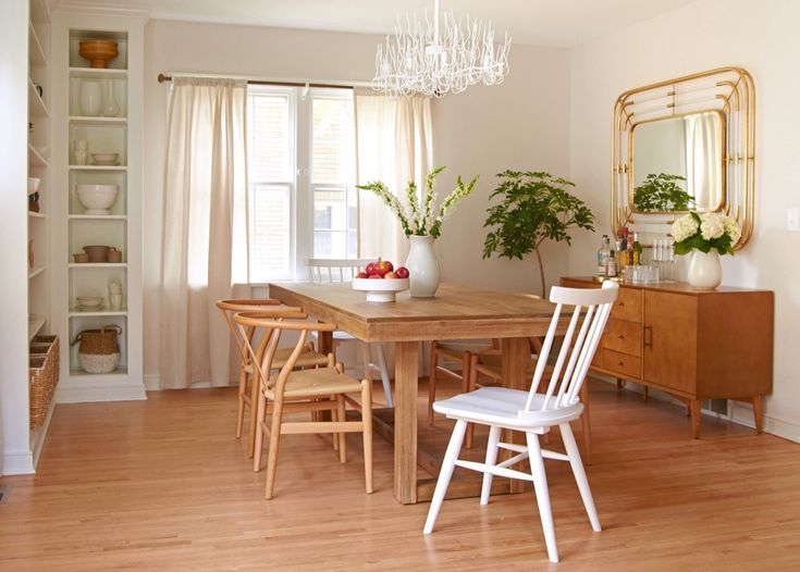 Curbly House Dining Room Makeover   Art Deco Mirror, Buffet, Wishbone Chairs
