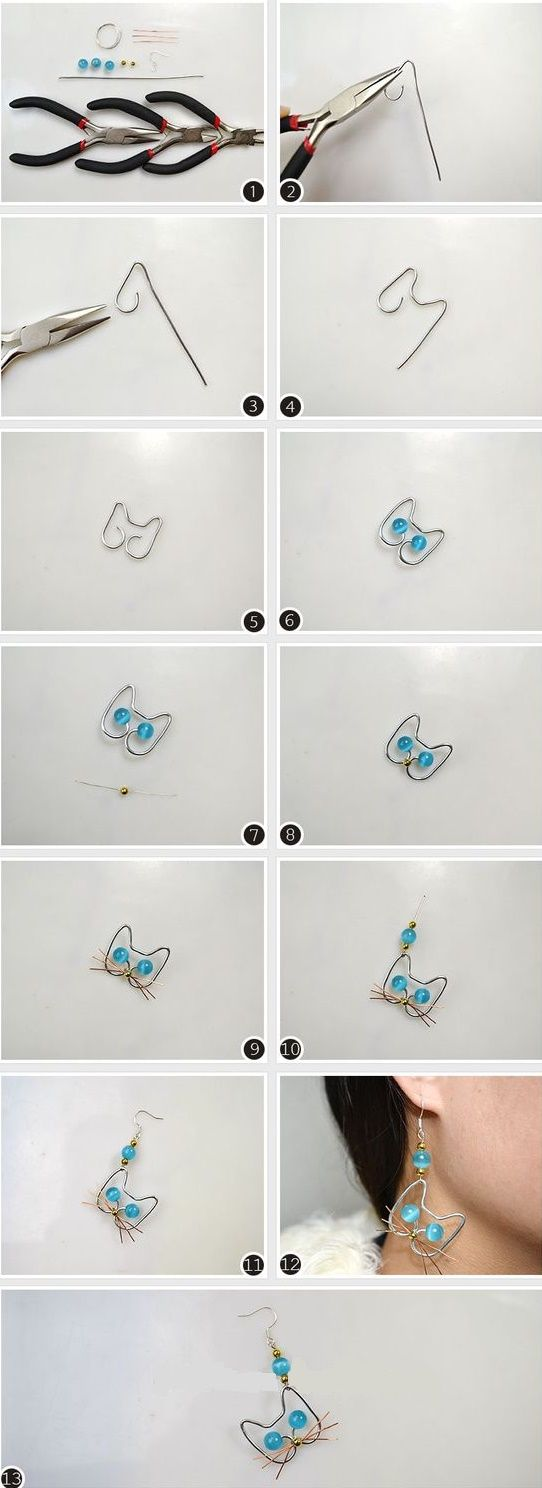 DIY Différentes boucles d'oreille. (cat earrings) (http://eslamoda.com/aretes-que-puedes-hacer-para-venderselos-tus-amigas)