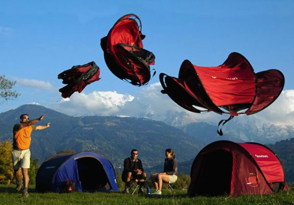 Pop Up Tent Quecha tents take away the stress of figuring out how to pitch your tent. All campers have to do is throw it in the air, and presto! It lands like a cat on its feet, perfectly upright. A family sized tent costs $340.33 via quenchua.com.