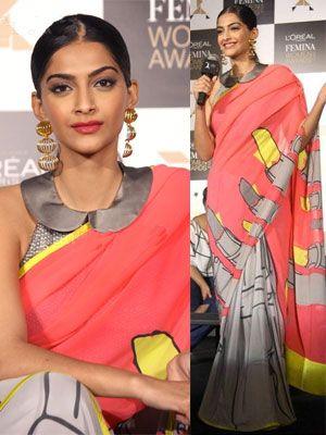 Sonam Kapoor in Masaba for Satya Paul Lipstick Saree