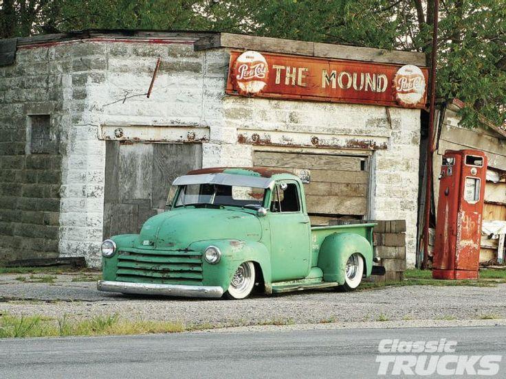 old gas pump & 1951 Chevrolet 3100