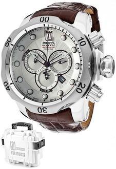 Invicta 12960BWB Watches,Men's Jason Taylor/Reserve Chronograph Silver Textured Dial Brown Genuine Leather, Men's Invicta Quartz