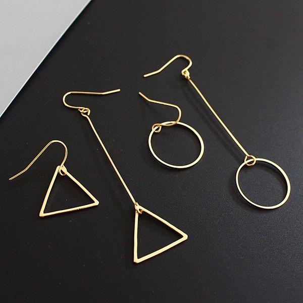 Minimalist hm cos wind length asymmetric geometry hollow circular triangle earrings earrings Lady beautiful stud earrings