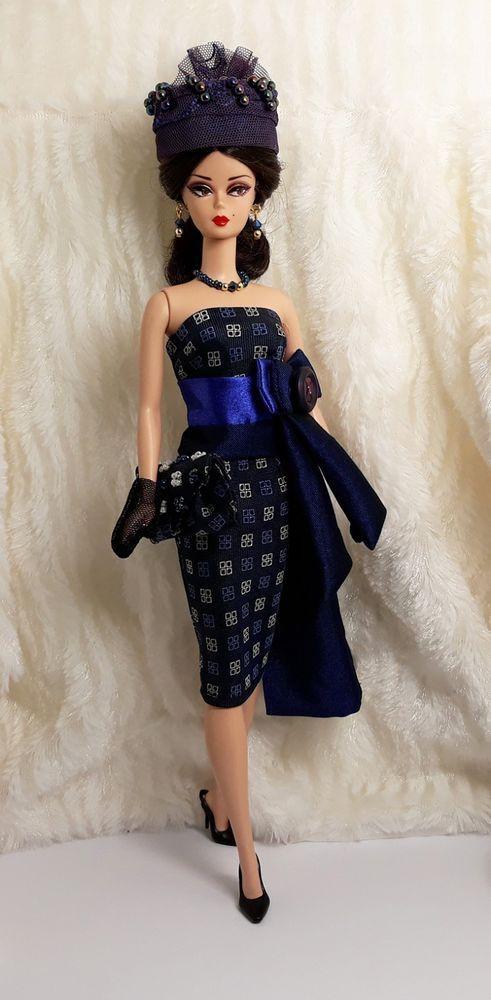 eeee0854b32b Ooak Handmade Dark Blue Tone Outfit Dress Bag Hat Glove Jewelry For  Silkstone #Sitar_Large_Super_Rich