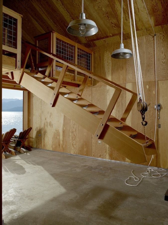 Pully system staircase.