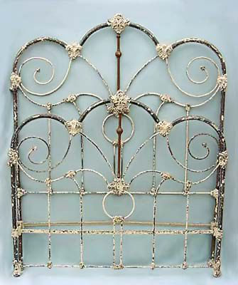 original antique iron bed frame circa