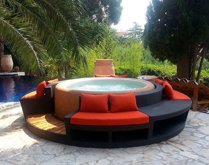 76 best softub decor images on pinterest | hot tubs, garden and ... - Spa Patio Ideas