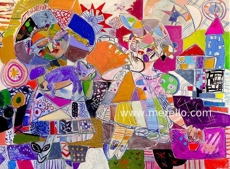 """P O E S Í A. José Manuel Merello.- """"Fantasia"""" (97 x 130 cm) El gato azul. Arte contemporáneo. Pintores españoles actuales. Arte actual siglo 21. Pintura moderna. Cuadros de artistas contemporaneos. México, Miami, Madrid. Inversión en arte contemporáneo. http://www.merello.com"""