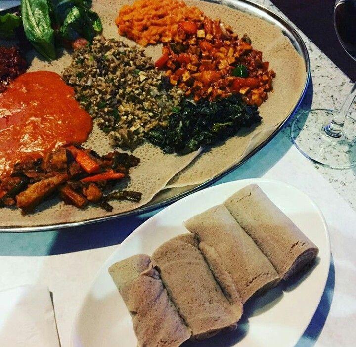 Traditional Ethiopian food. Teff is from Ethiopia which is milled and then made into enjera. Yum! @tarutuomi #teff #lydiateff #ethiopian #grain #protein #fibre #enjera #vegan #plantbased #whatveganseat