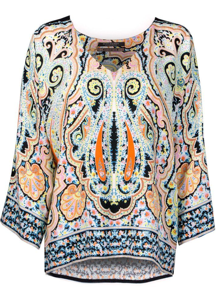Bluse print 102190 Wide V-neck Top with Placement Print