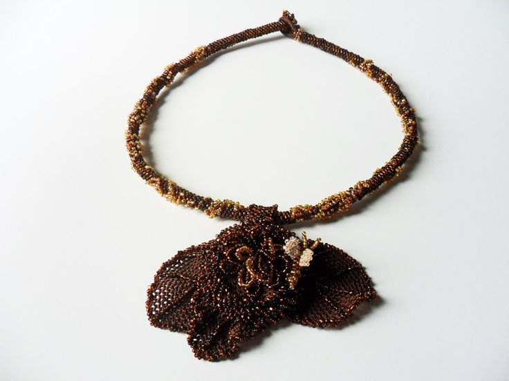 crochet necklace copper bead jewelry